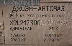 Информационная табличка нива