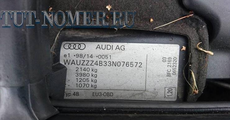 Расшифровка VIN Audi
